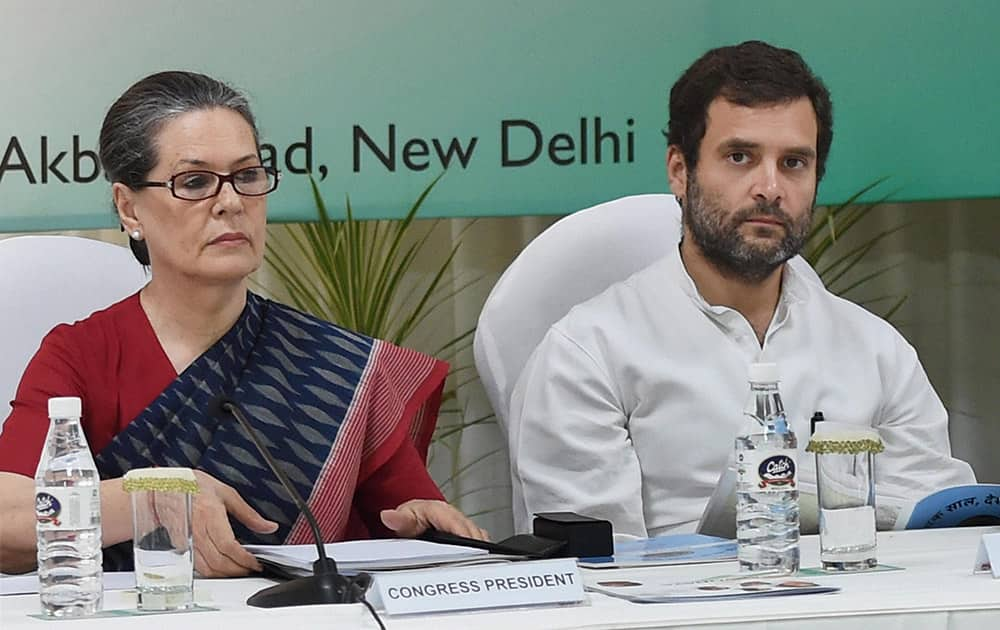 Congress President Sonia Gandhi and party Vice President Rahul Gandhi during the Congress Chief Ministers Conference at party headquarters in New Delhi.