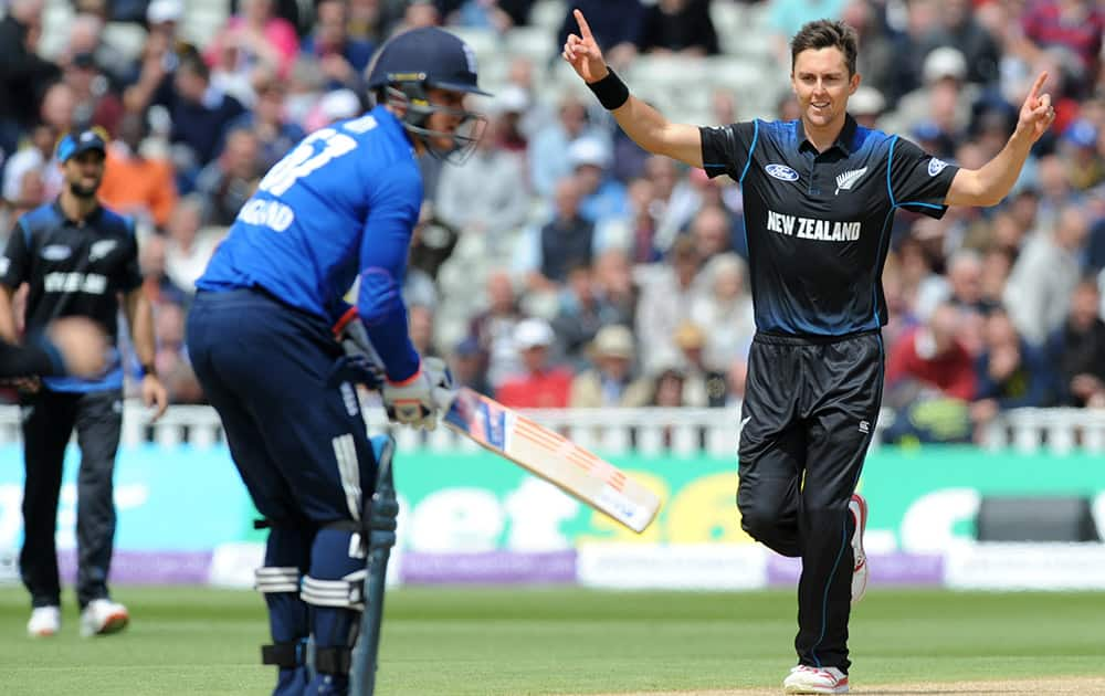 New Zealand's Trent Boult celebrates after bowling England's Jason Roy caught Martin Guptill for a duck during the One Day International match between England and New Zealand at Edgbaston cricket ground in Birmingham, England.