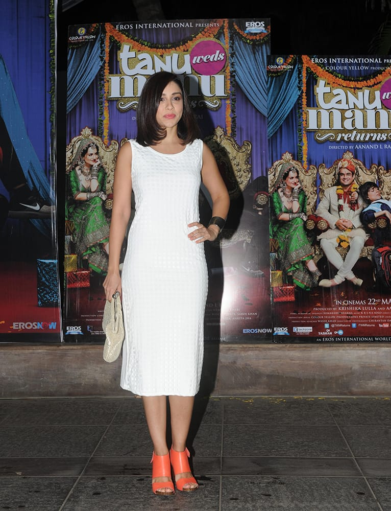 Amrita Puri during the party of the team of Tanu Weds Manu Returns to celebrate the film's performance at the box office in Mumbai.