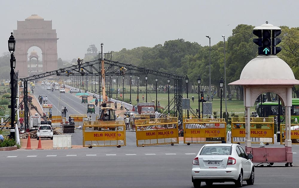 Preparations underway for the upcoming Yoga Day celebrations at Rajpath in New Delhi.