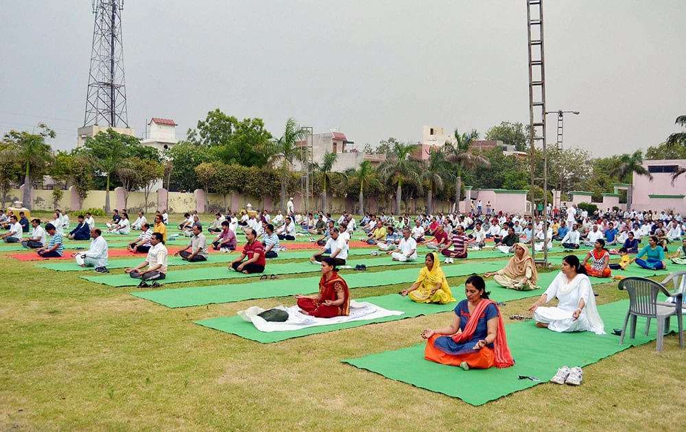 Government employees at a 2-day Yoga Training Camp in Sonipat