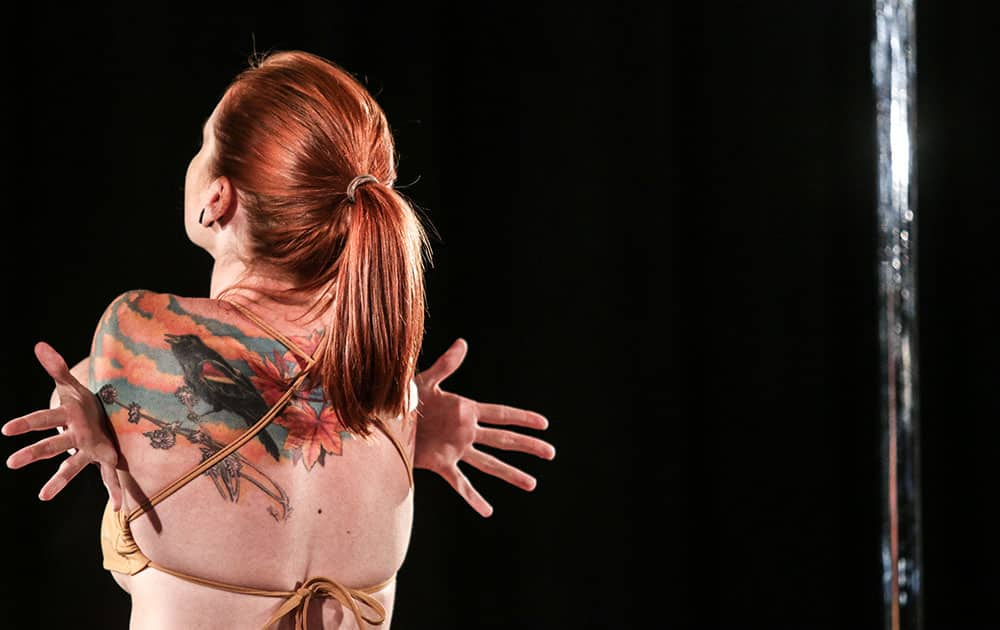 Melissa Hyde performs at the Southern Pole Championships event, in Atlanta.