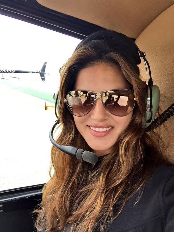 Sunny Leone :- Nothing like taking a helicopter to set!! Living the life!!!! With @DanielWeber99-twitter