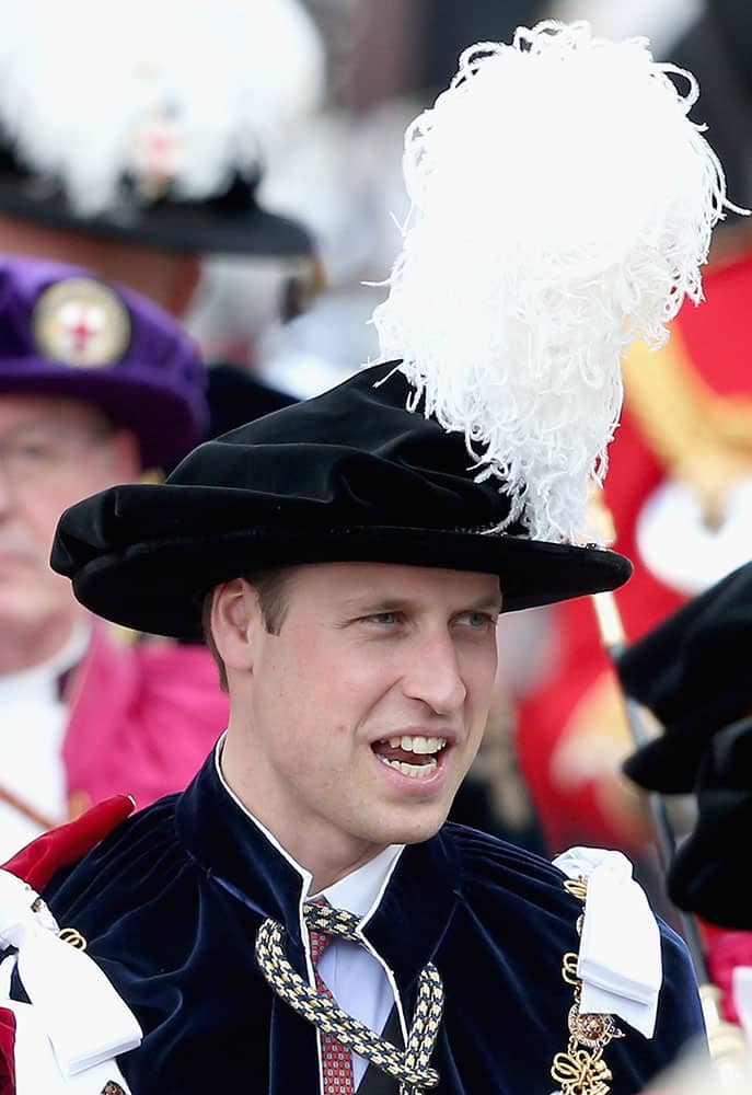 Prince William, Duke of Cambridge processes to the annual Order of the Garter Service at St George's Chapel at Windsor Castle in Windsor, England.