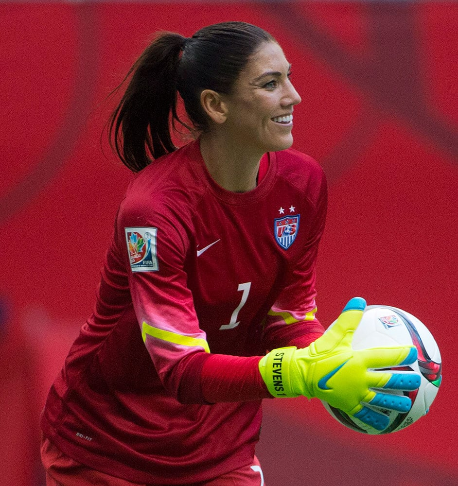 United States goalkeeper Hope Solo makes a save during second half against Nigeria in a FIFA Women's World Cup soccer game, in Vancouver, British Columbia, Canada.