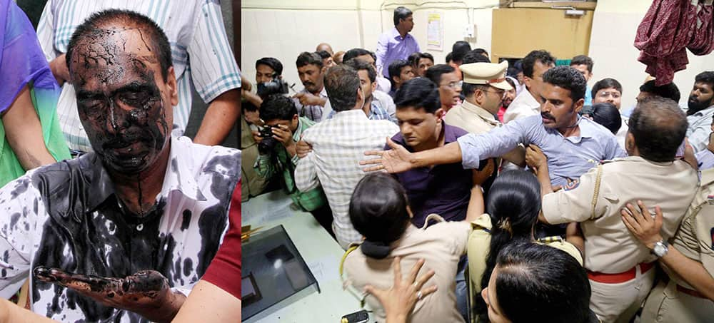 A suspected NCP activist blackened face of Resident Medical Officer Raghunath Rathod following the incident of civil hospital ignoring an injured woman in Mumbai.