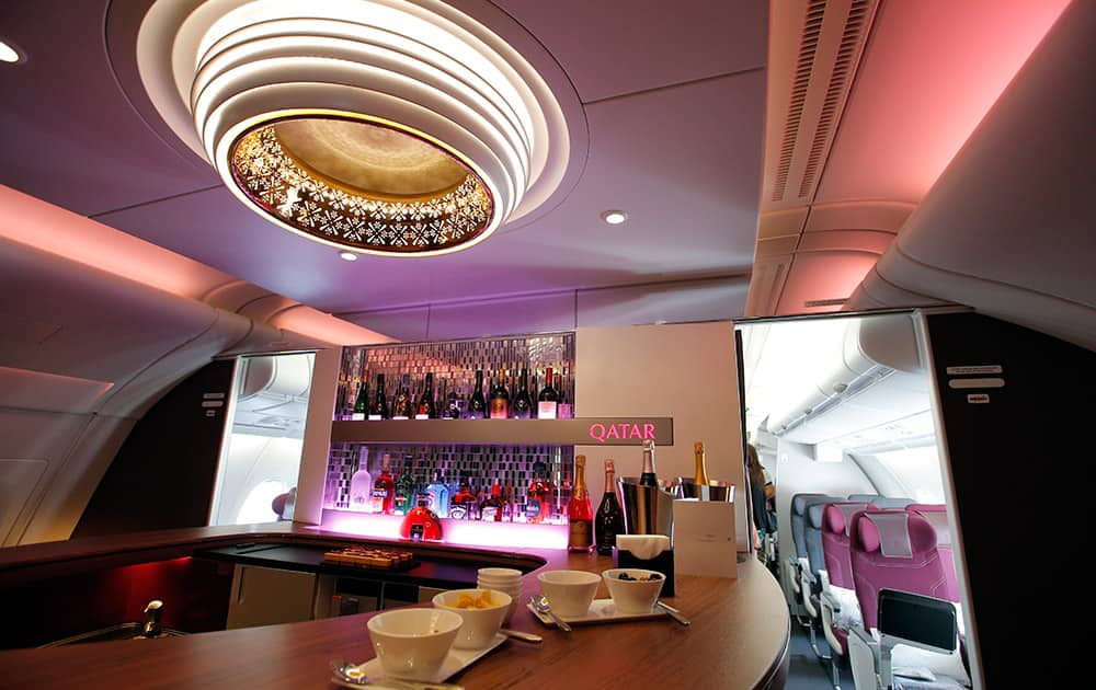 Interior view of the lounge bar in the second floor deck of the Airbus A380 of Qatar Airways presented at the Paris Air Show, in Le Bourget airport, north of Paris.