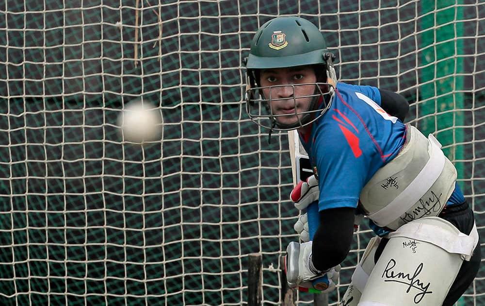 Bangladesh's Mushfiqur Rahim bats in the nets in Dhaka, Bangladesh.