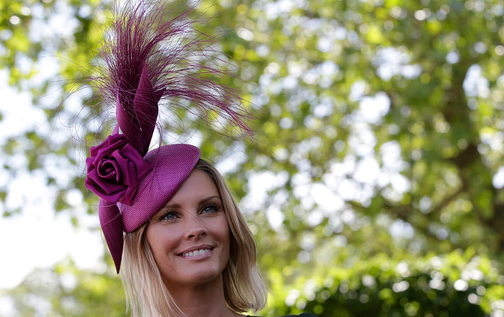 Maline Jefferies wears an ornate hat on the third day of the Royal Ascot horse racing meet at Ascot, England.