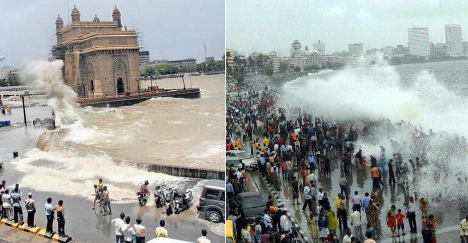 Gateway of India n Marine Drive #MumbaiRains #MumbaiHighTide - Twitter@miniflyonthewal