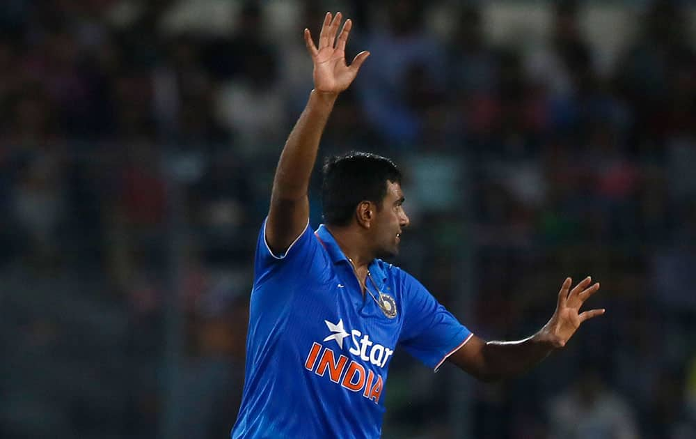 India's Ravichandran Ashwin successfully makes an LBW appeal for the dismissal of Bangladesh's Soumya Sarkar during their second one-day international cricket match in Dhaka, Bangladesh.