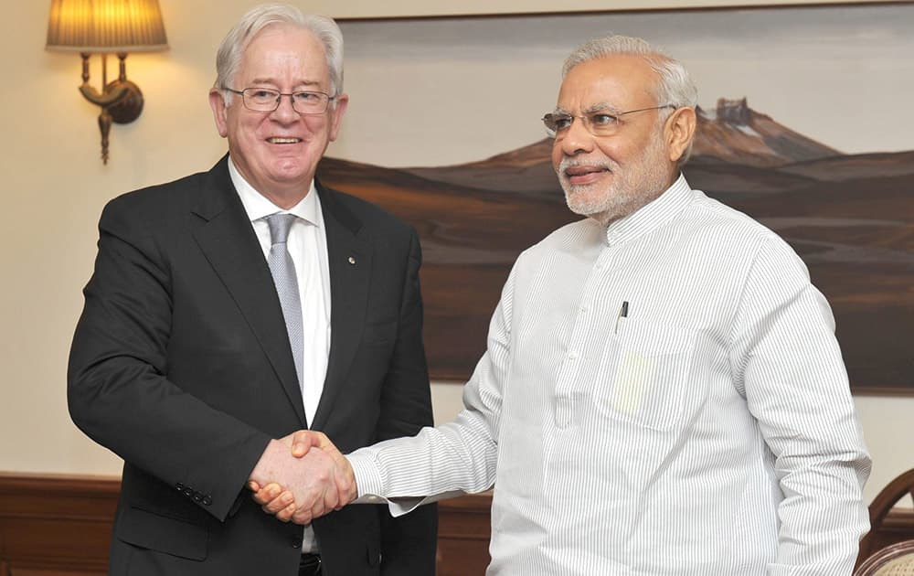 Prime Minister Narendra Modi meets Australian Minister for Trade and Investment, Andrew Robb in New Delhi.