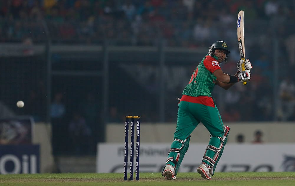 Soumya Sarkar plays a shot during the third one-day international cricket match against India in Dhaka.