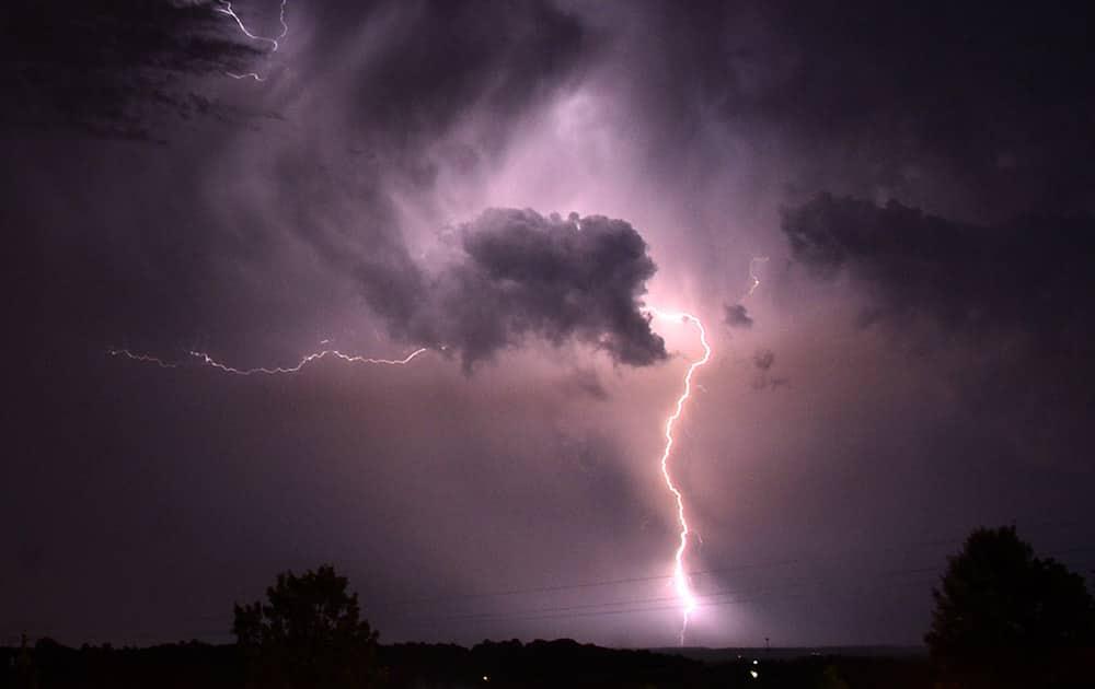 Lightning is seen from Vestavia Hills, Ala., a suburb of Birmingham.