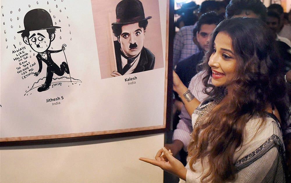 Vidya Balan during the inaugration of an exhibition on legendary artist Charlie Chaplin in Mumbai.