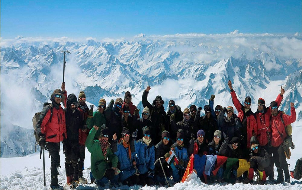 Mount Deo-Tibba: NCC Girls' Expedition Team poses at the peak of Mount Deo-Tibba.