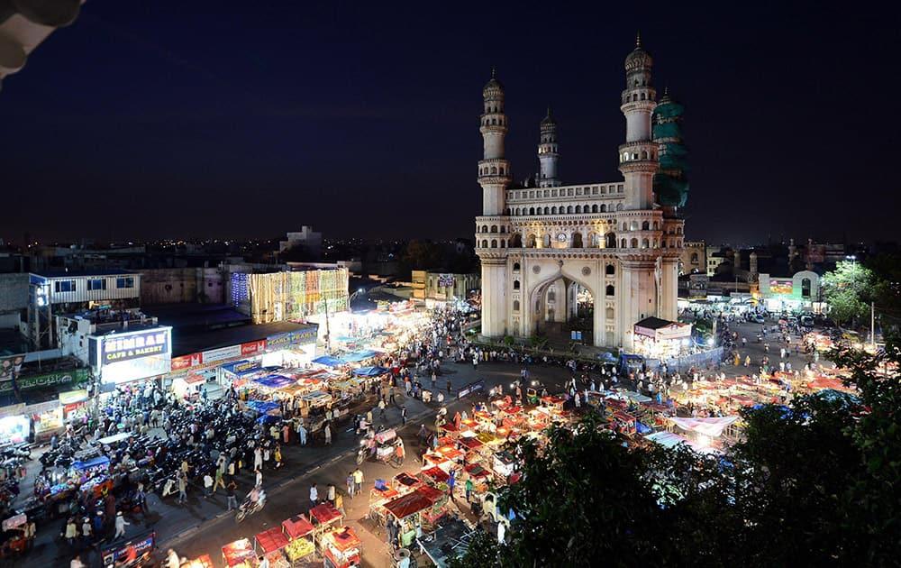 A night view of the Ramdan night bazar in old city of Hyderabad near Chaar Monar on Friday.
