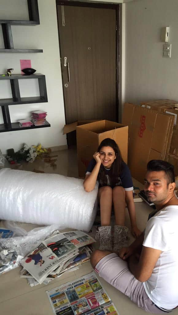 Surrounded by boxes and bubble wrap. Packing happiness :) - Twitter@ParineetiChopra