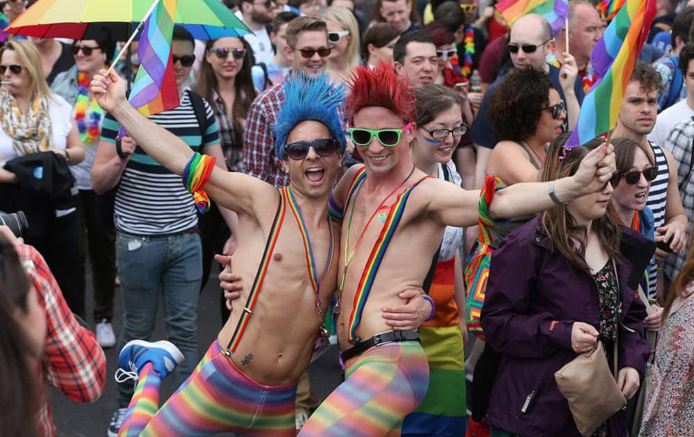 Participants on OConnell Street in Dublin take part in a Gay Pride parade in Dublin.