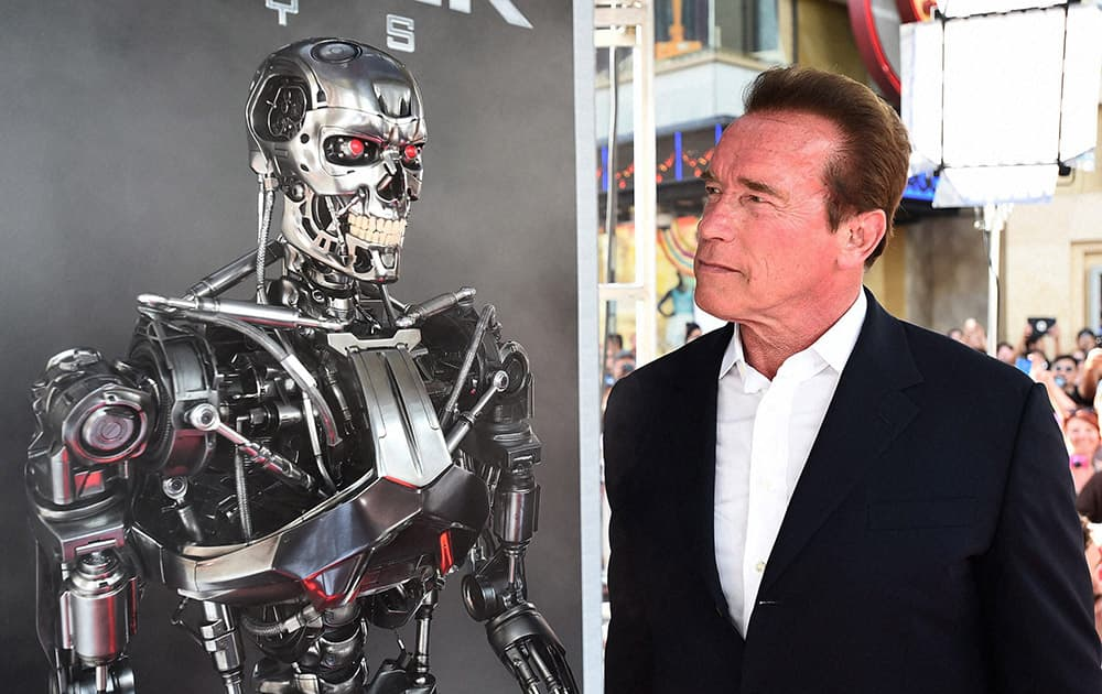 Arnold Schwarzenegger arrives at the LA Premiere of Terminator Genisys at Dolby Theatre in Los Angeles.