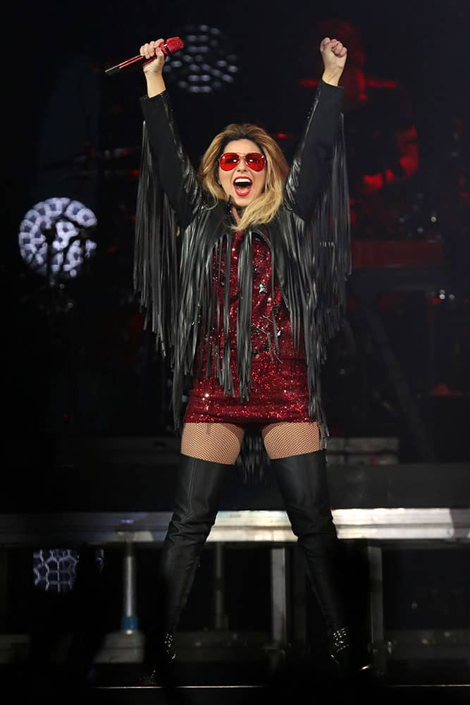 Shania Twain performs in concert at Madison Square Garden, in New York.