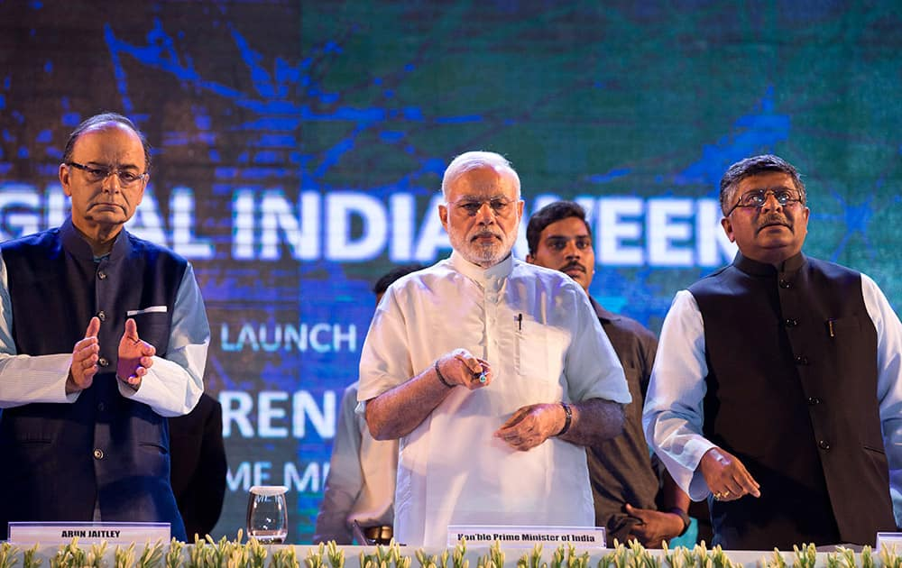 Prime Minister Narendra Modi launches digital India project in New Delhi. The initiative involves creating opportunities for all Indian citizens by harnessing digital technologies, to empower every citizen with access to digital services, knowledge and information.