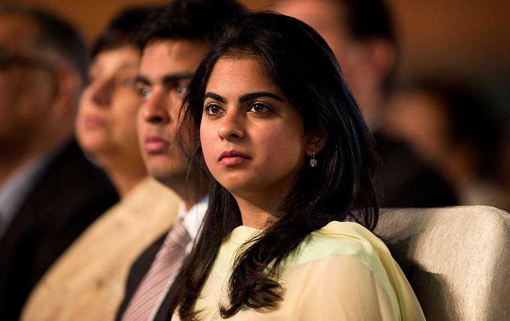Isha Ambani, daughter of Indian Industrialist Mukesh Ambani, watches proceedings during the launch of digital India project in New Delhi.