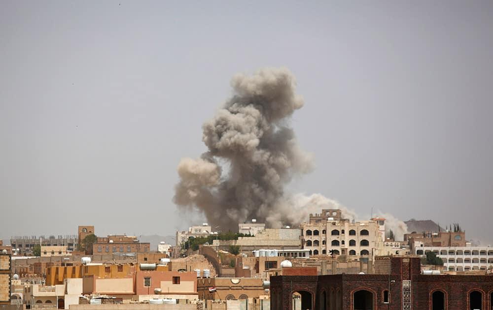 Smoke rises after a Saudi-led airstrike in Sanaa, Yemen.