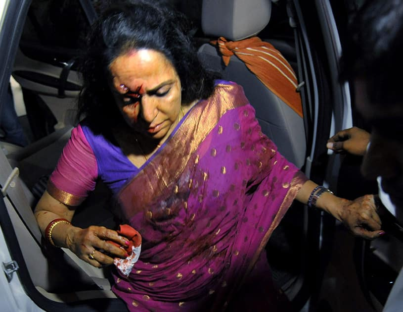 Veteran actress and BJP MP Hema Malini being rushed to a hospital in Jaipur after being injured in a road accident in Dausa.