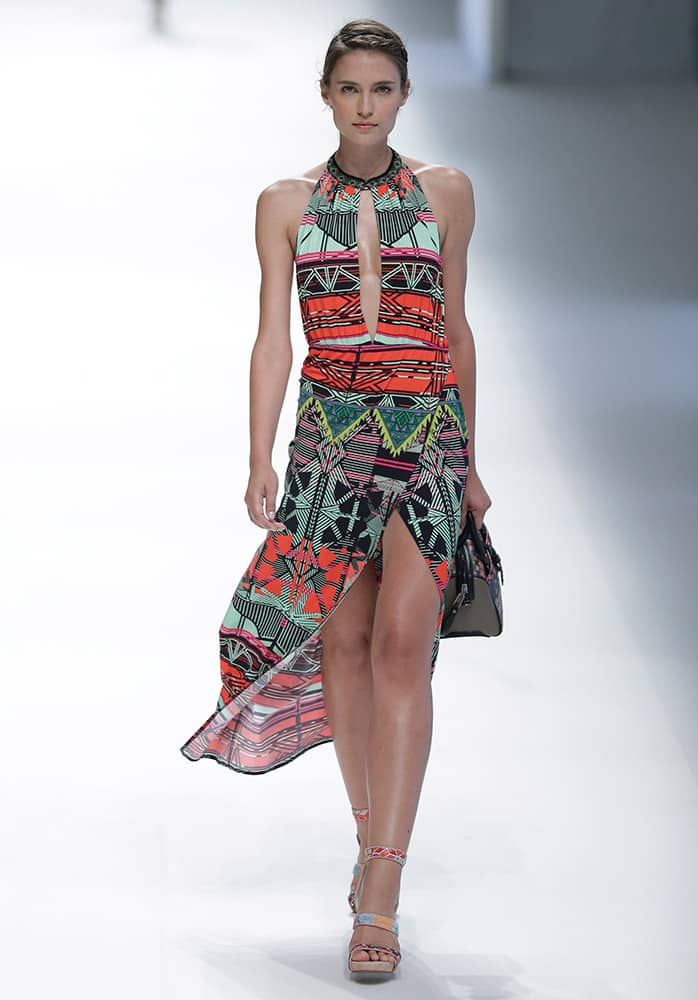 A model wears a creation from 'Custo Barcelona' during the 080 Barcelona fashion show in Barcelona, Spain.