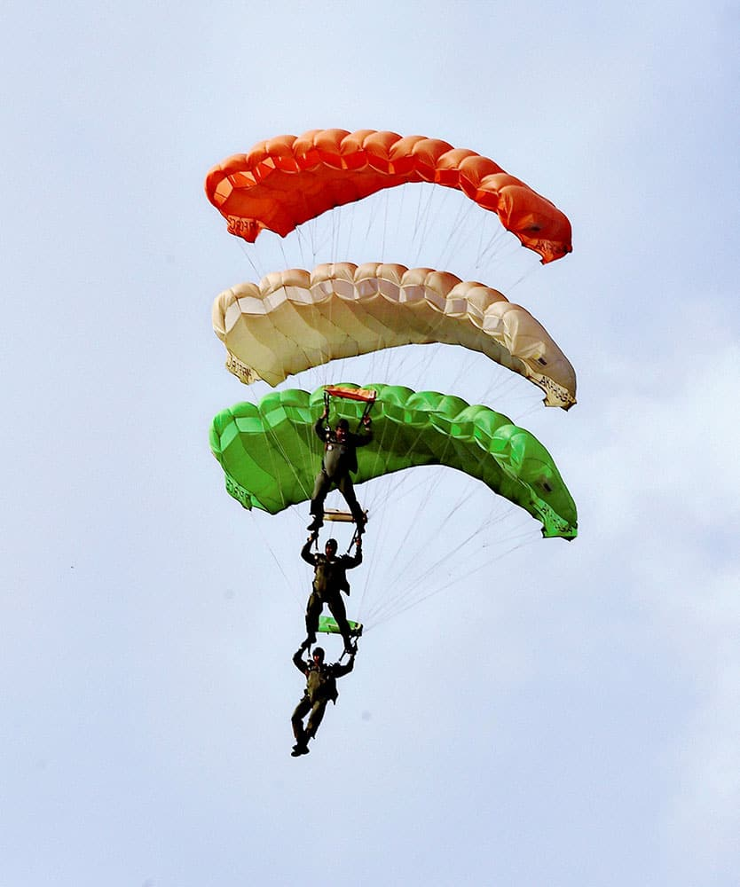 Cadets of officers Training Academy performing free fall para jumping from AN 32 Aircraft during a Sky Diving Demo organized by OTA at Kayar Lake area near Chennai.