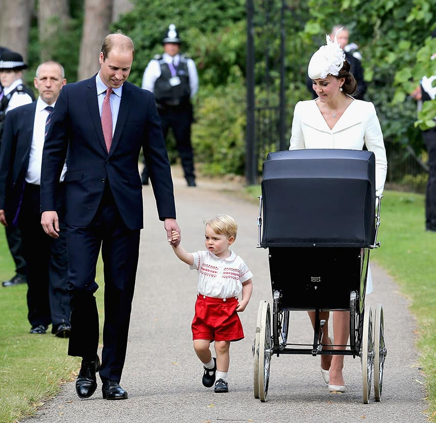Britain's Prince William, Kate the Duchess of Cambridge, their son Prince George and their daughter Princess Charlotte arrive for Charlotte's Christening at St. Mary Magdalene Church in Sandringham, England.