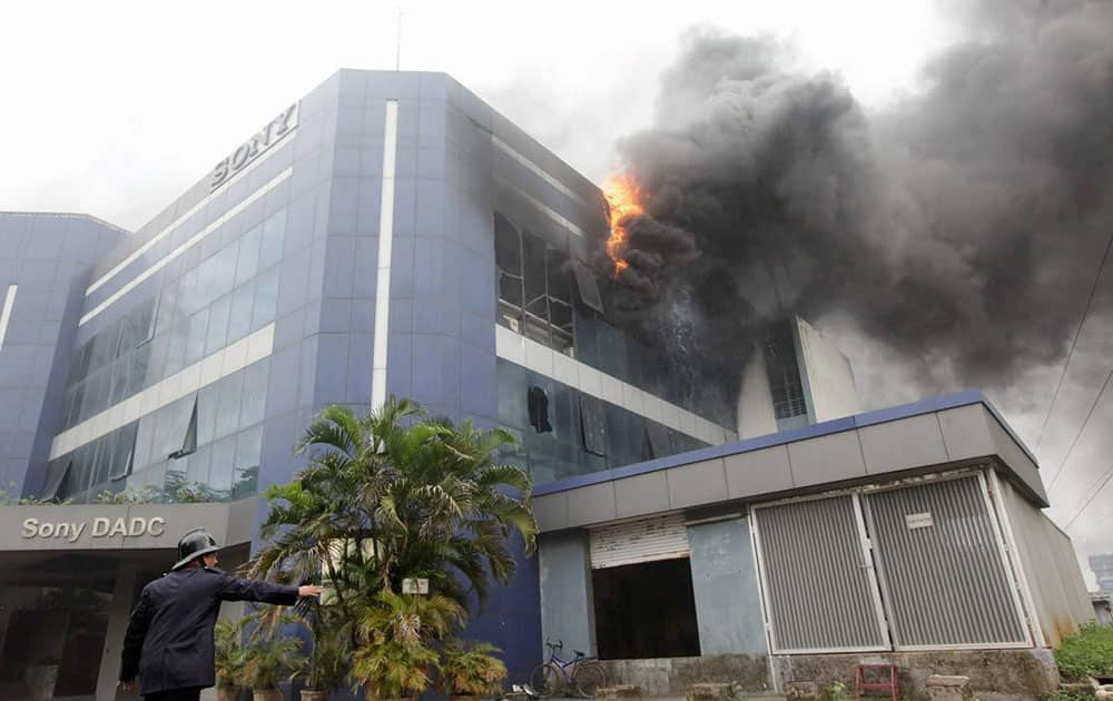 A fire broke out at Sony manufacturing plant in Navi Mumbai.