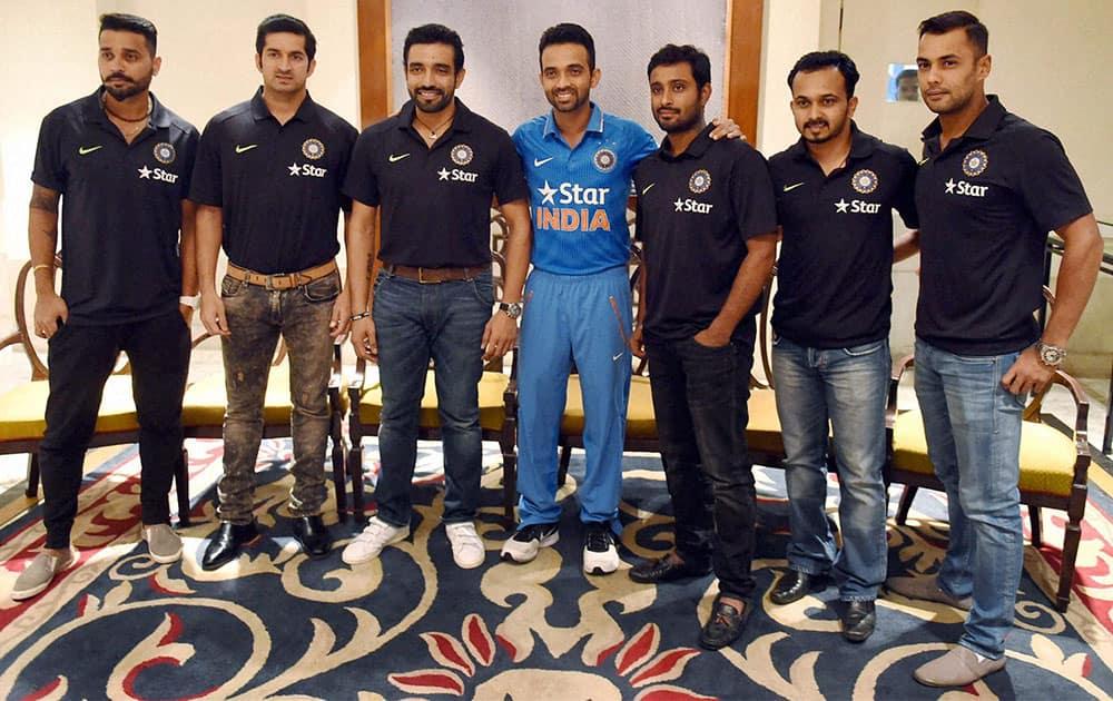 Indian captain Ajinkya Rahane along with team mates Murli Vijay, Mohit Sharma, Robin Uthappa, A Rayudu, Kedar Jadhav and Stuart Binny posing for media during a pre departure press conference in Mumbai.