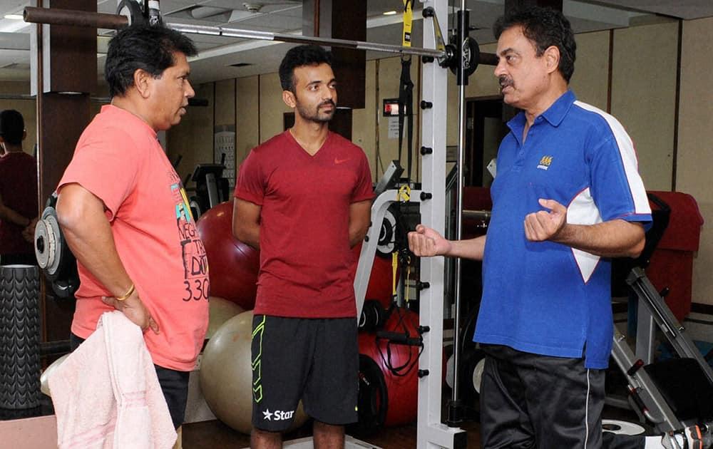 India captain Ajinkya Rahane (C) along with former captain Dilip Vengsarkar (R) and former keeper Chandrant Pandit at BKC in Mumbai, ahead of the Zimbabe tour.