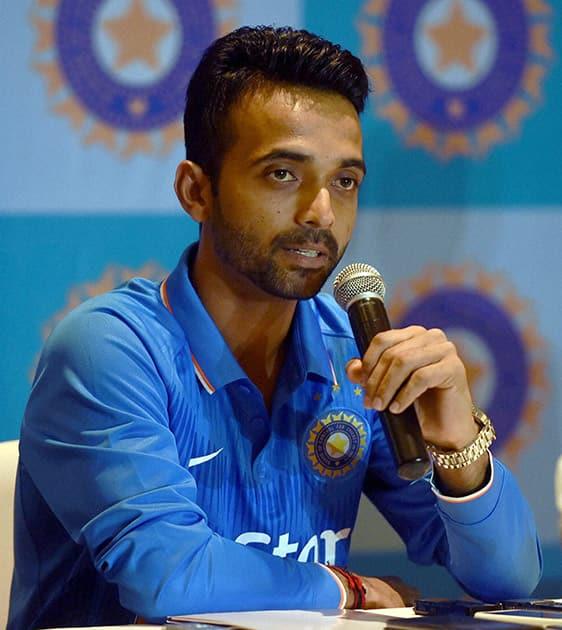 Indian captain Ajinkya Rahane addresses a pre-departure press conference in Mumbai.