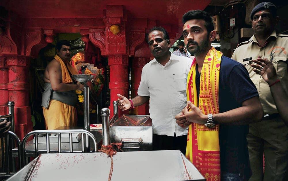 Indian cricket team captain Ajinkya Rahane visits Siddhivinayak temple in Mumbai.