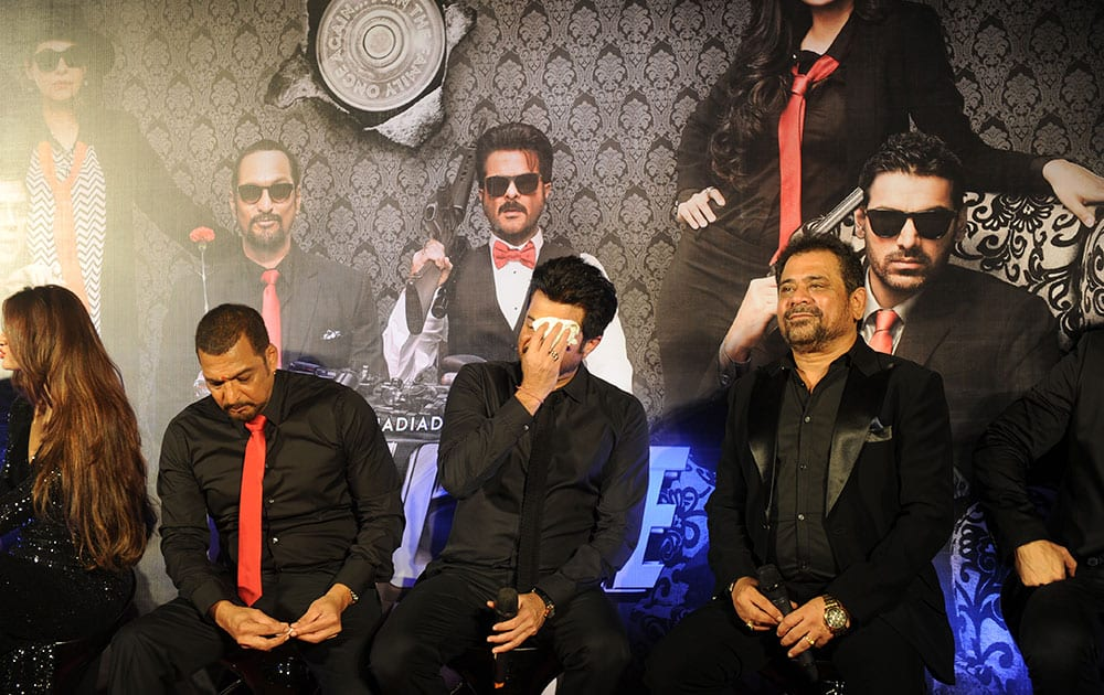 Nana Patekar, Anil Kapoor  and Anees Bazmee  during the trailer launch of movie Welcome Back at PVR, Juhu in Mumbai. -dna