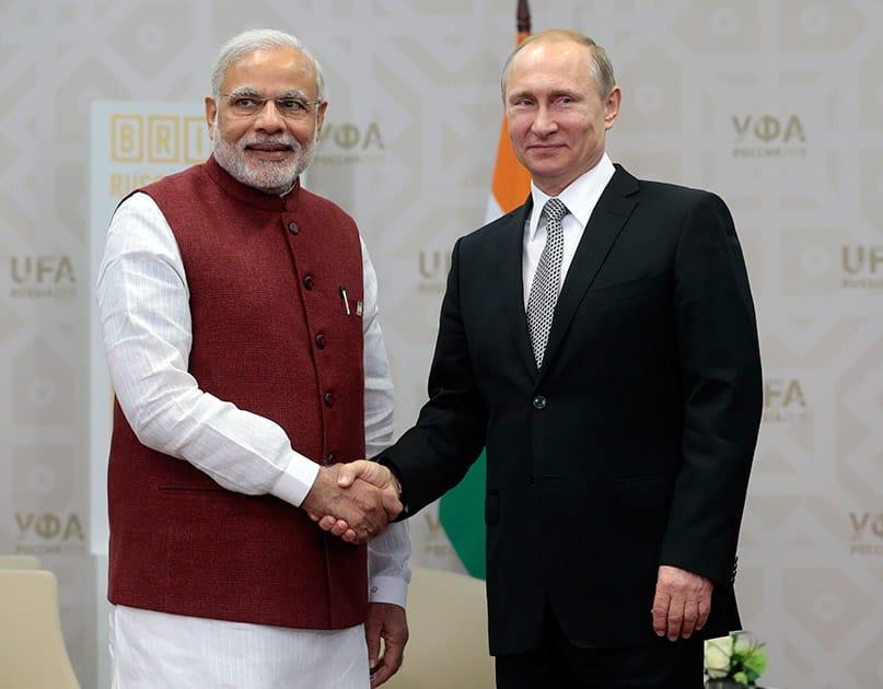 Russia's President Vladimir Putin meets with Indian Prime Minister Narenda Modi in Ufa, Russia. Ufa hosts SOC (Shanghai Cooperation Organization) and BRICS (Brazil, Russia.