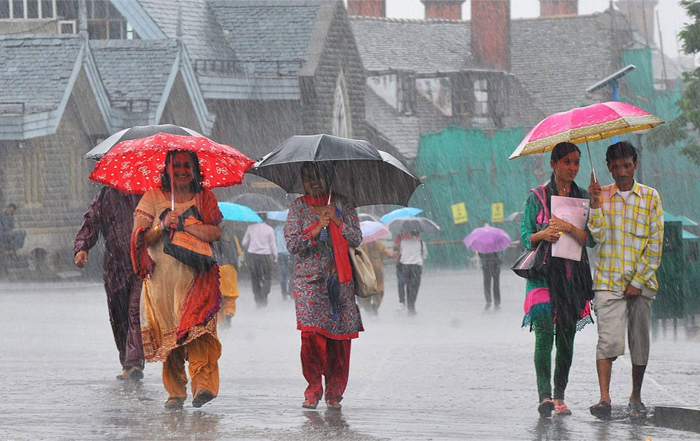 People use umbrellas during heavy rain in the northern hill town of Shimla.