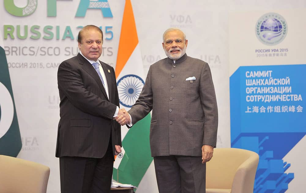 Prime Minister Narendra Modi shakes hands with his Pakistani Counterpart Nawaz Sharif during a meeting at UFA in Russia.