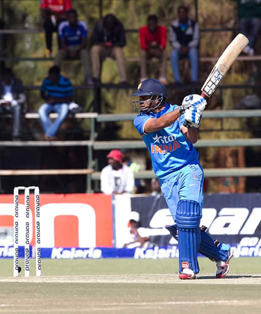 Ambati Rayudu plays a shot during the first One Day International against Zimbabwe in Harare.