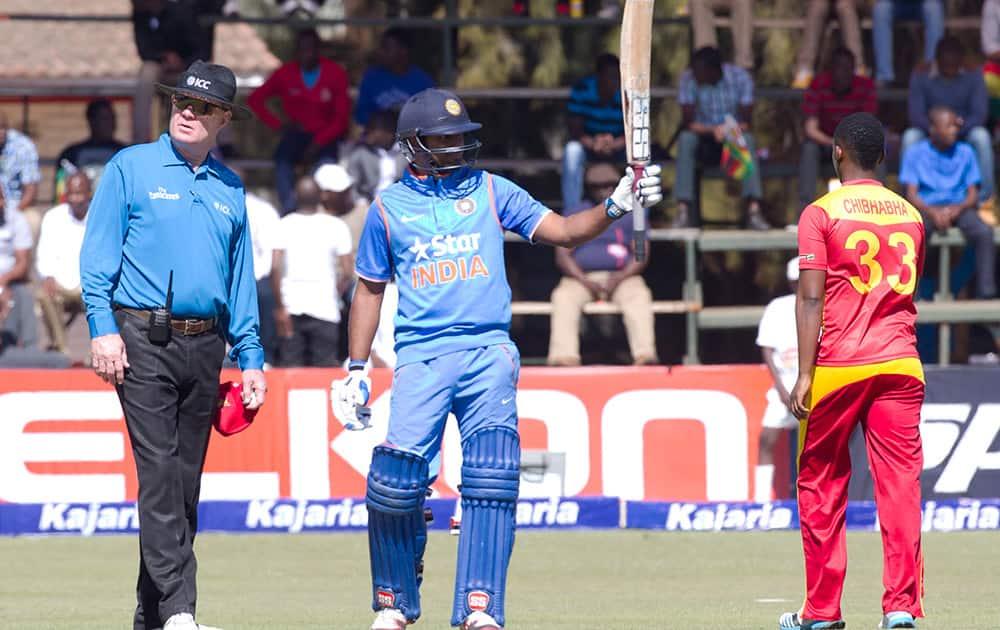 Ambati Rayudu celebrates after scoring 100 runs during the One Day International against Zimbabwe in Harare.