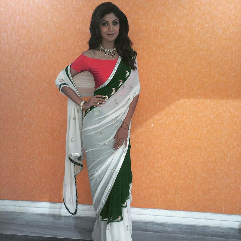 SHILPA SHETTY :- In my own creation #SSK parrot embellished sari -instagram