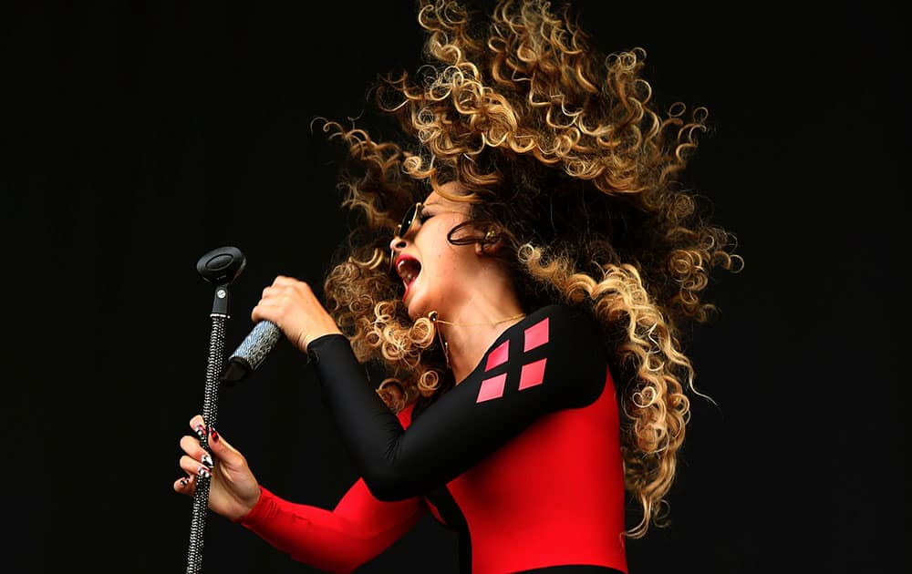 Ella Eyre performs on the main stage at the T in the Park music festival at Strathallan in Perthshire, Scotland.