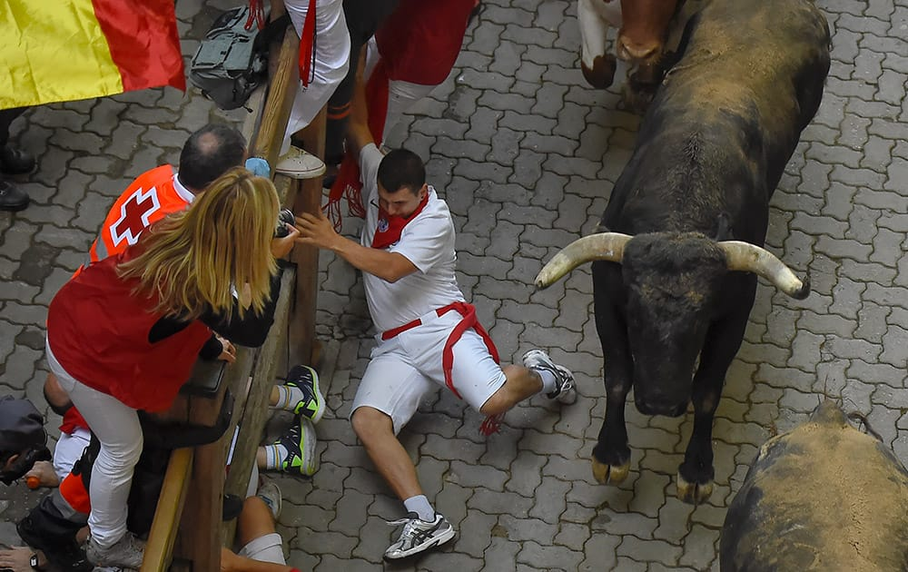 A participant falls beside of a Miura fighting bull during the eighth running of the bulls at the San Fermin Festival in Pamplona, Spain.
