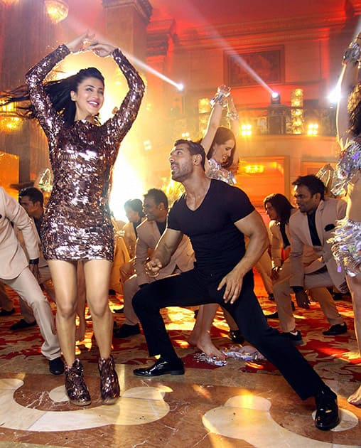 John Abraham and Shruti Haasan during a song shoot for film Welcome Back.