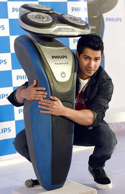 Varun Dhawan during the launch of Philips AquaTouch shaver in Mumbai.