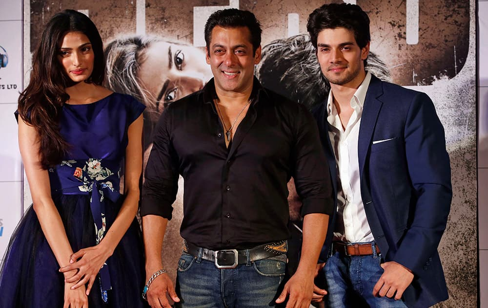 Salman Khan, Sooraj Pancholi and actress Athiya Shetty pose for photographs during the trailer launch of their upcoming movie 'Hero' in Mumbai. The film is scheduled to release on Sept. 11.