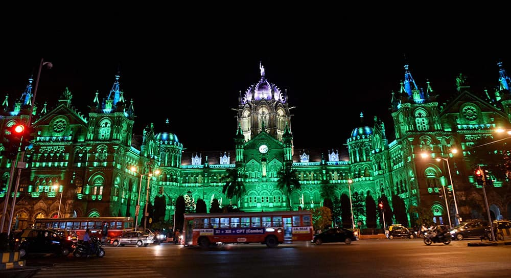 A view of CST station illuminated in green light ahead of Eid in Mumbai.